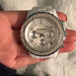 Michael Kors white with jewels watch